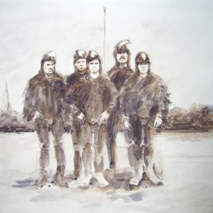 Crow Man Class Photo, 2005, Watercolour paint on paper, A4