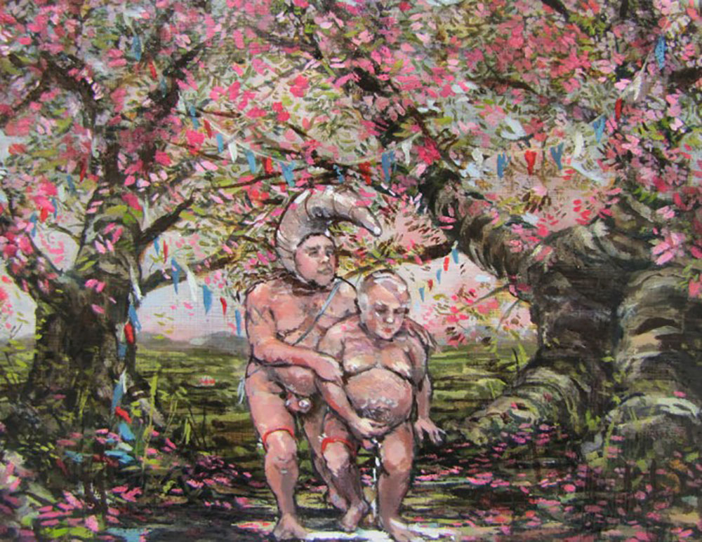 Floral Delivery on Faunal Grounds 2013 Oil on Canvas 20 cm x 26cm