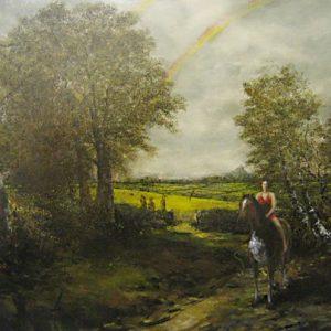 Mounted Kate's progress 2005 Oil on canvas 89cm x 127cm