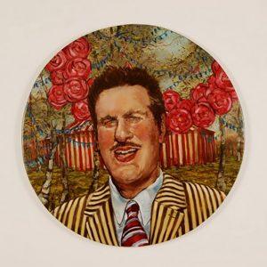 Circus Master 60cm diam oil on panel 2008