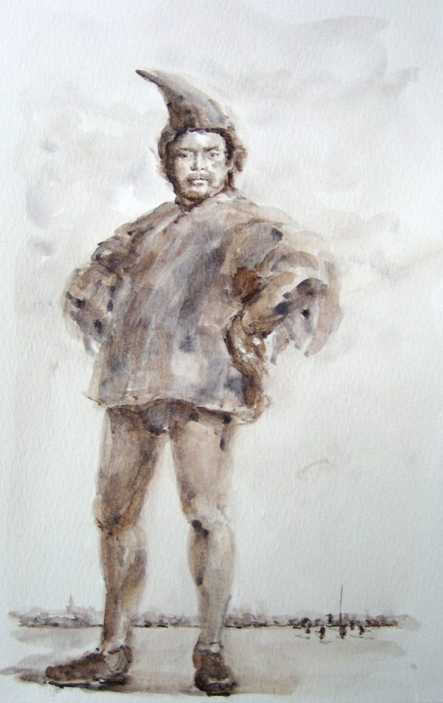 Crow Man #5 (Titian), 2005, Watercolour paint on paper, A4