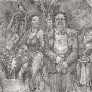 Gala Presentation, 2009 Charcoal on paper 250 x 150 cm