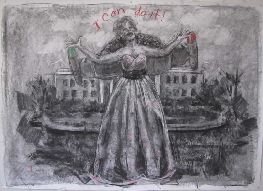 I Can Do, 2014, Charcoal on paper, 1500 x 80 cm