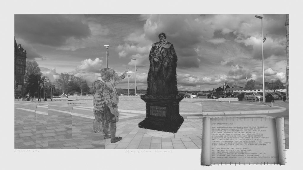 Mary Barbour Monument A Proposal 2011 Etching mezzotint and mixed media 87 x 48cm