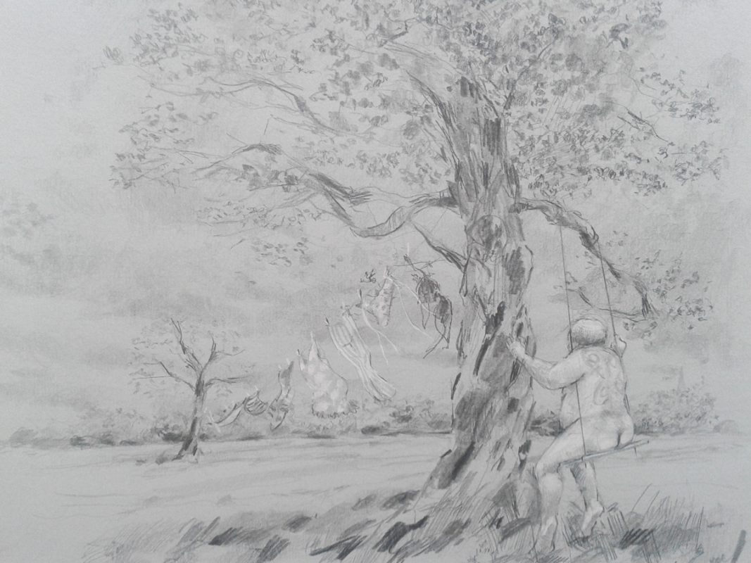 Rural Swinging 2012 Pencil on pastel paper 18 x 24 cm
