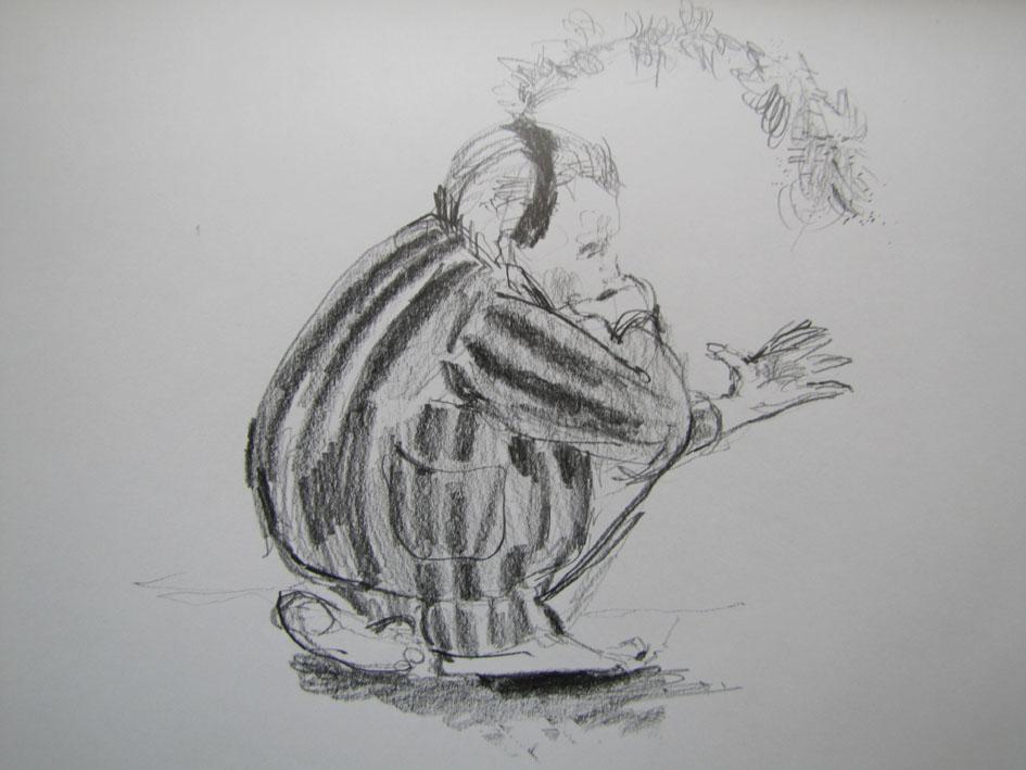 Squatting Player, 2011, Graphite on paper, 18 x 24 cm