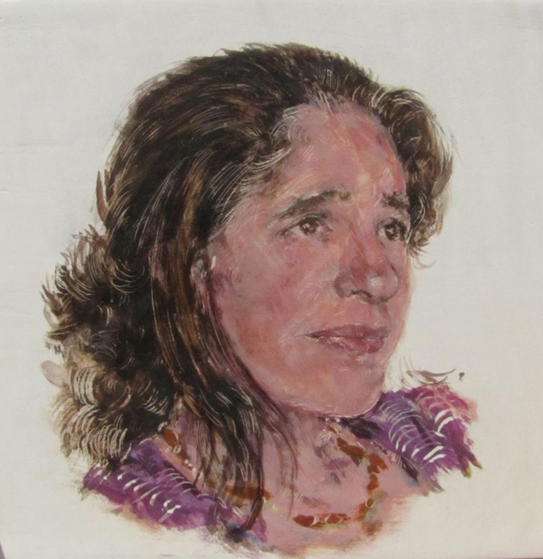 Deanna Maganias, Herstory Portrait, 2011, Egg tempera on gesso on beech panel 20cm x 20cm