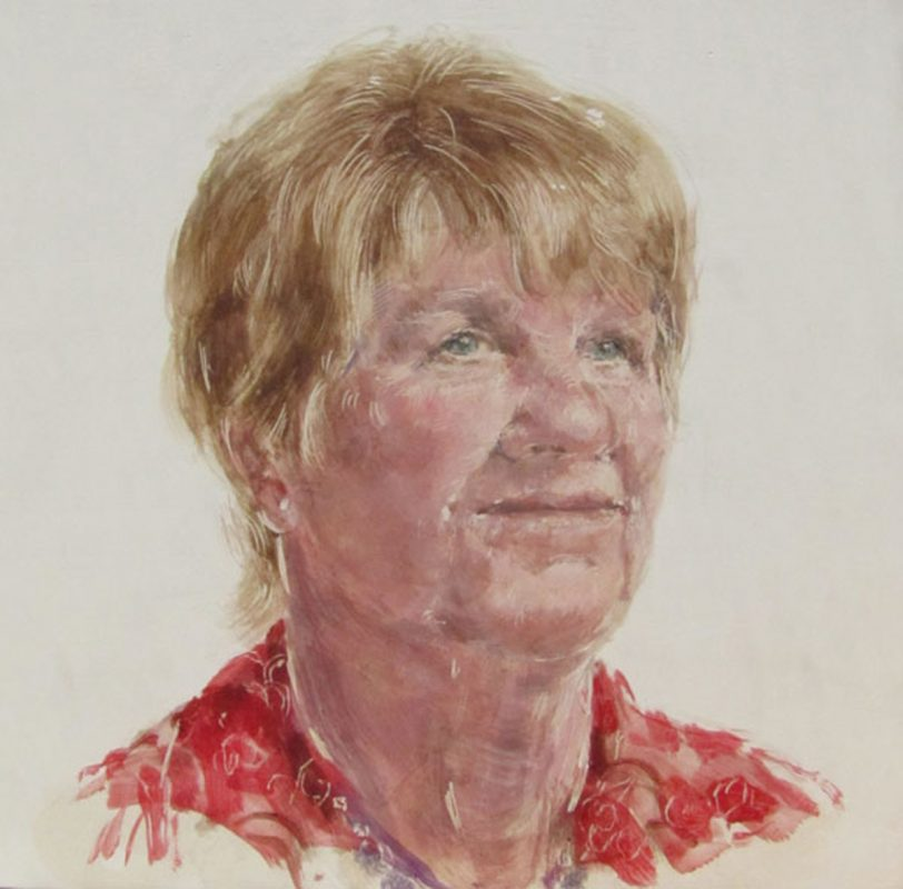 Jean Mcfadden, Herstory Portrait, 2011 Egg tempera on gesso on beech panel 20cm x 20cm