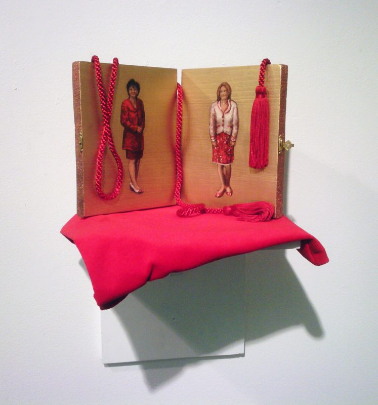 Missus The Point, 2008, Oil on wooden panel mixed media, 20 x 20-x 20 cm