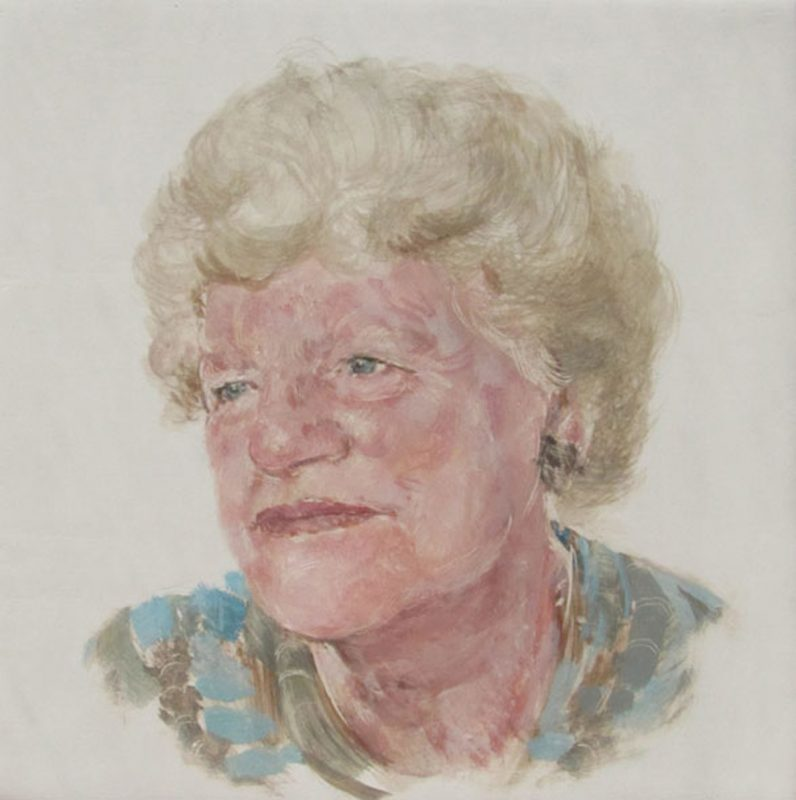 Ruth Wishart, Herstory Portrait, 2011, Egg tempera on gesso on beech panel 20cm x 20cm