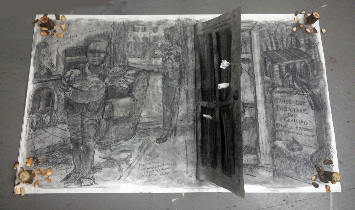 Exposed, 2019, Charcoal on paper with mixed media, 100 x 210 cm