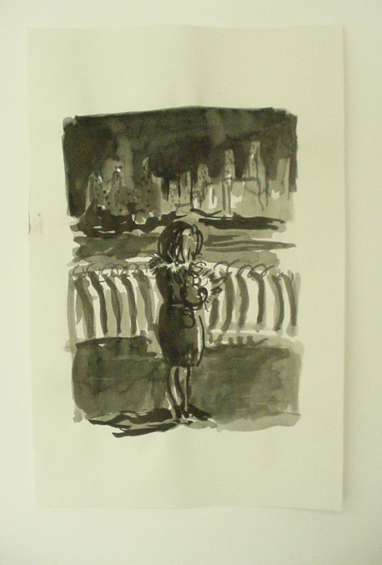 Promenade Girl, 2001, Ink wash on paper 30 x 24 cm