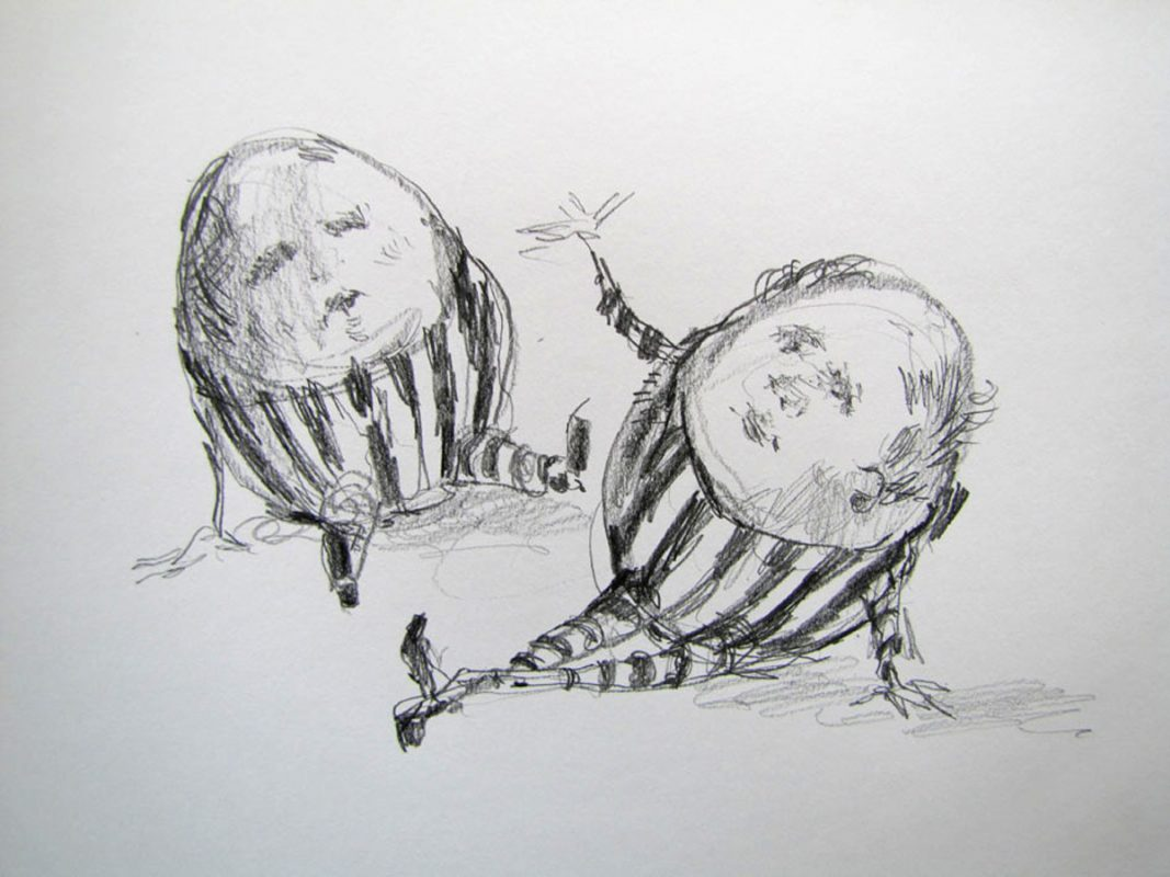 Egg Heads 2011 graphite on paper 22 x 30cm
