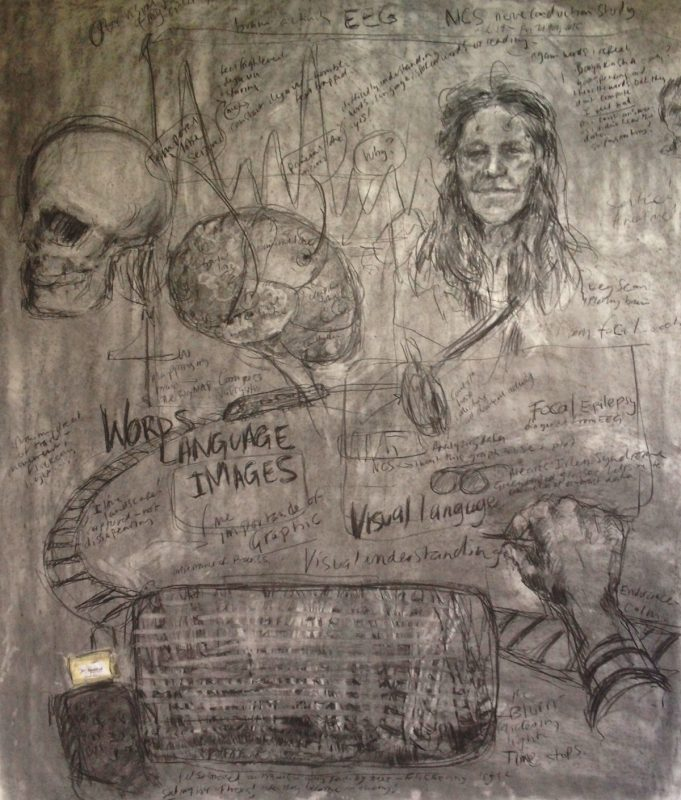 Epilepsy and Eye, 2016 (detail 2 of trilogy,) 1 x 2 m, Charcoal on paper