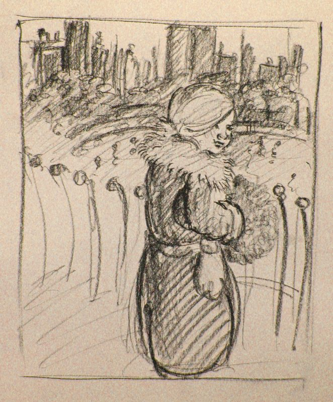 Promenade Girl, 2001, Conte pencil on paper, 30 x 24 cm