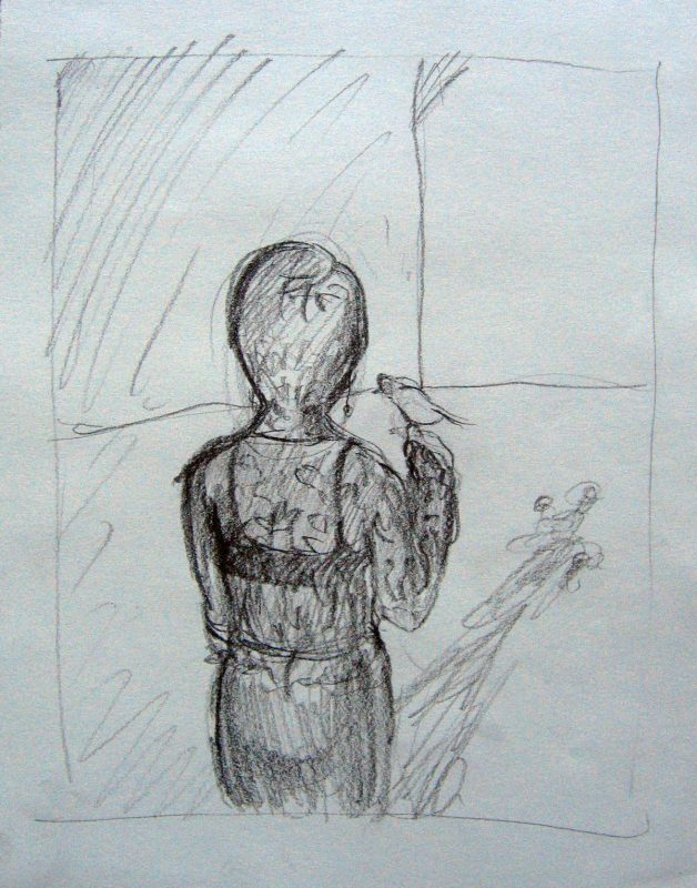 Canary Canary, 2001, Conte pencil on paper, 24 x 18 cm
