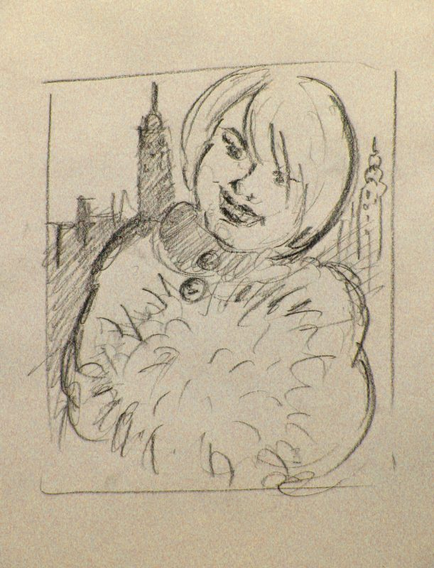 Fluffy Muff on New Jersey Strand, 2002, Conte pencil on paper, 30 x 24 cm