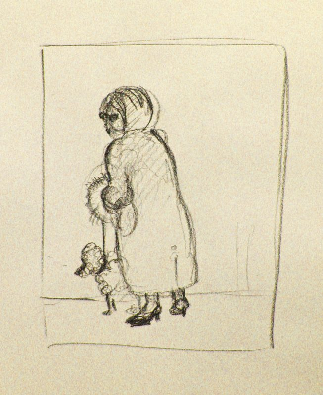 Fluffy Muff Walking up 8th Ave, 2002, Conte pencil on paper, 24 x 18 cm