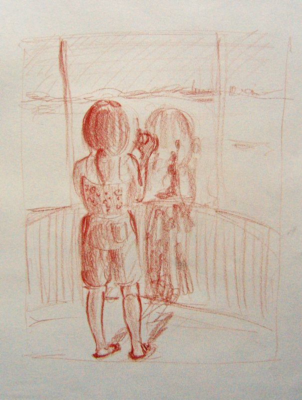 Wistful Memories, 2002, Conte pencil on paper, 24 x 18 cm
