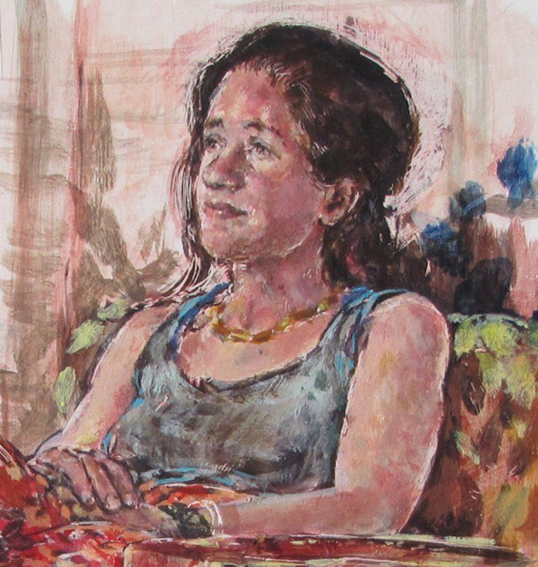 Deanna Maganias study (detail), 2010, Egg tempera on gesso panel, 30 x 24 cm