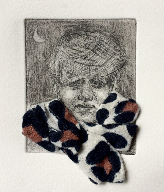 Errr on a theme of Leopard Skin, 2020, Etching and collage, 18 x 12 cm