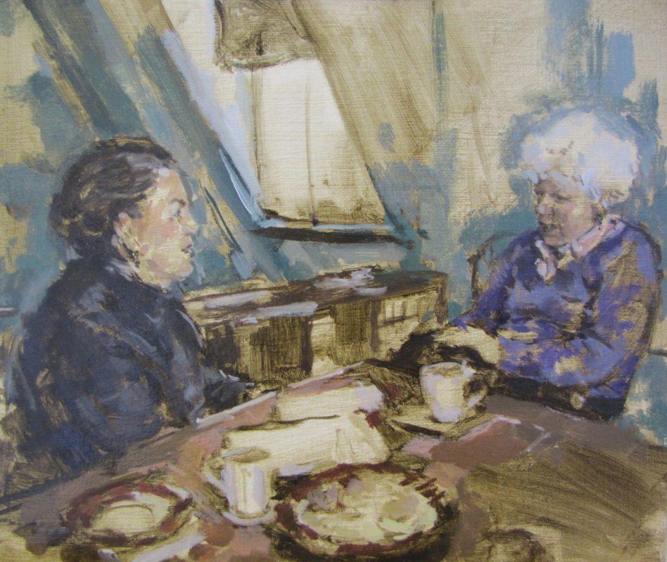 Frances and Ruth study, 2011, Oil on canvas, 16 x 20 cm