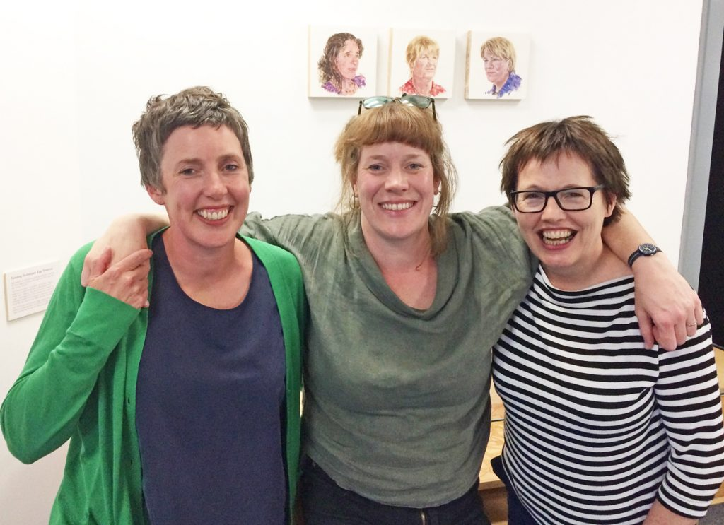Sharon with artists Pippa Hale and Hazel Reeves, Herstory Portrait launch, LAU, 2019