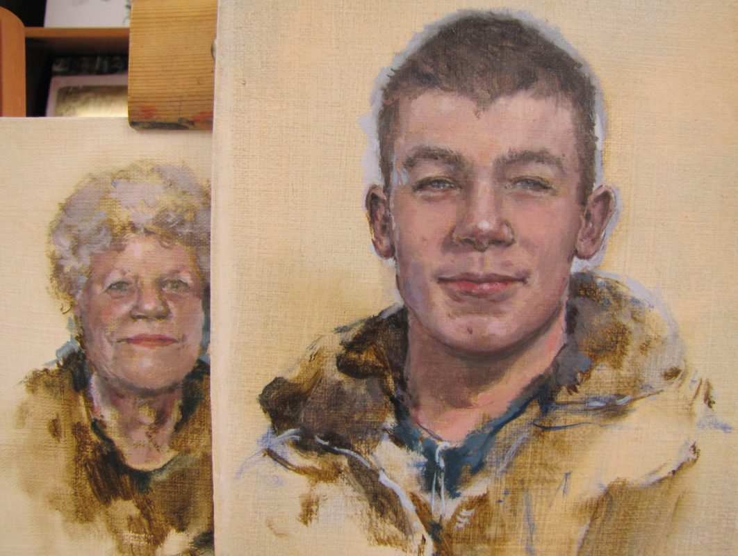 Connor and Ruth Wishart, 2010, Oil sketches on canvas