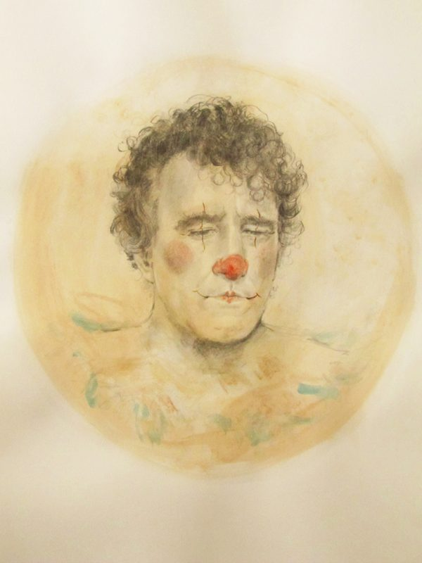 The Clown, 2010, Oil and pencil on watercolour paper, 84 x 60 cm
